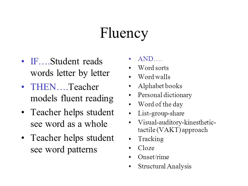 Fluency IF….Student reads words letter by letter