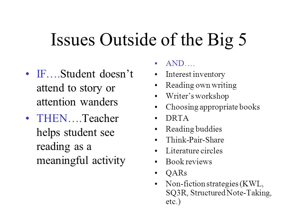 Issues Outside of the Big 5