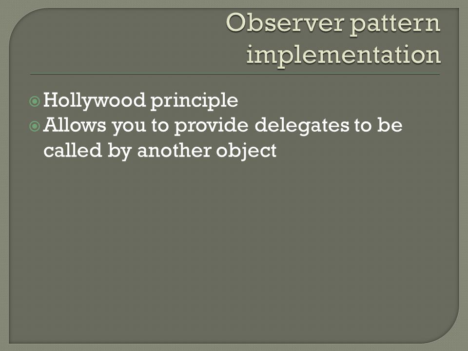 Observer pattern implementation