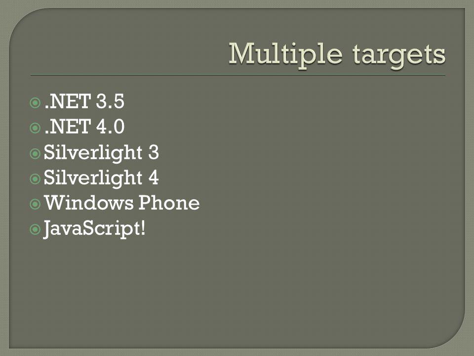 Multiple targets .NET 3.5 .NET 4.0 Silverlight 3 Silverlight 4