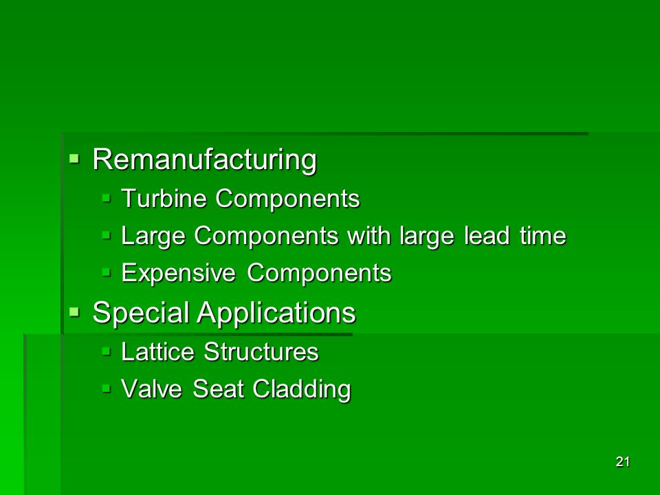Remanufacturing Special Applications Turbine Components