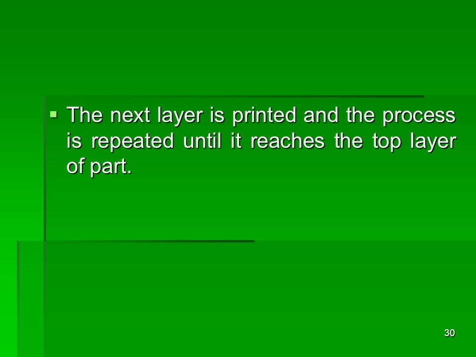 The next layer is printed and the process is repeated until it reaches the top layer of part.