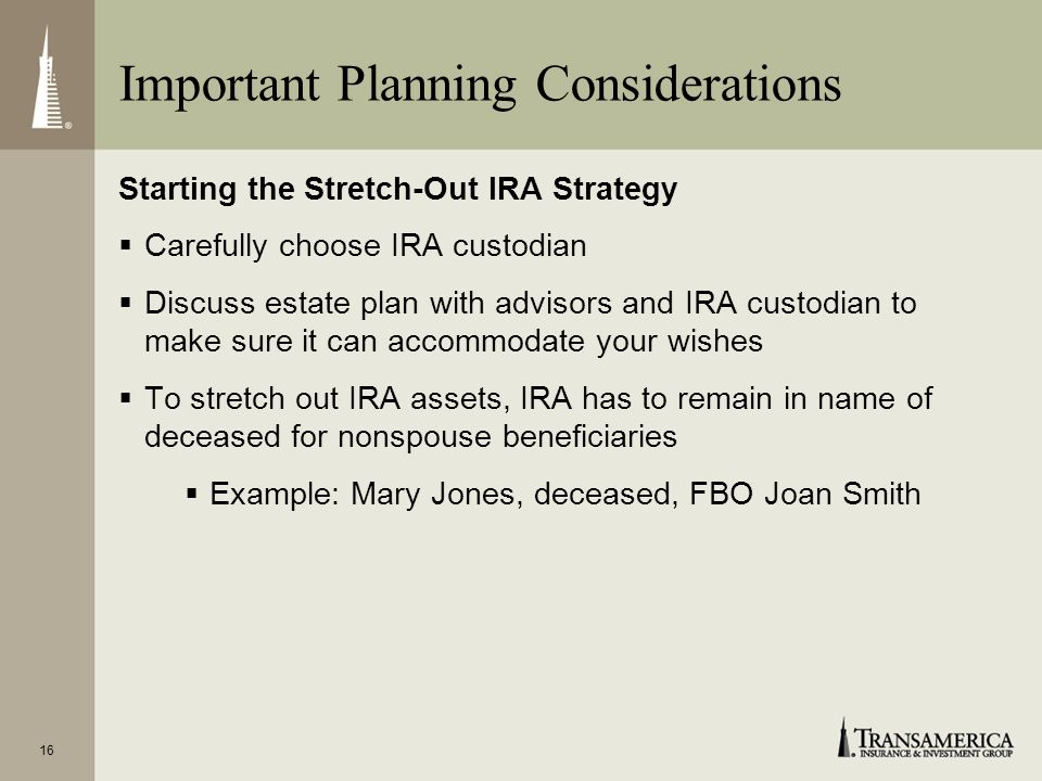 Important Planning Considerations