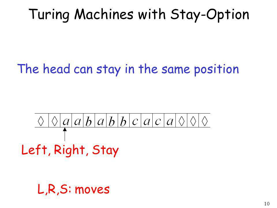 Turing Machines with Stay-Option