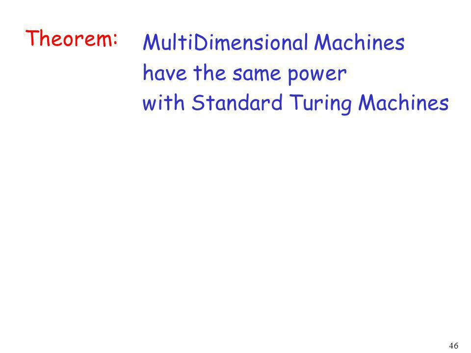Theorem: MultiDimensional Machines have the same power with Standard Turing Machines