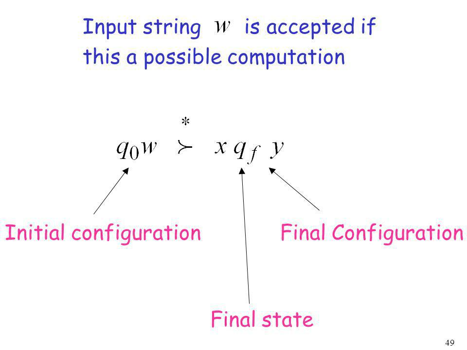 Input string is accepted if