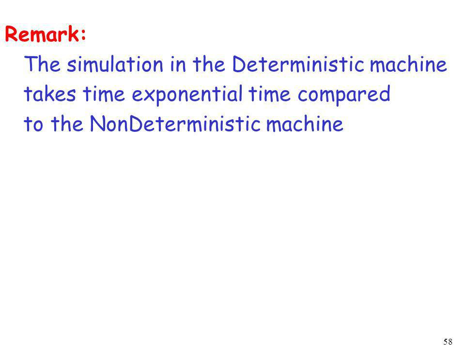 Remark: The simulation in the Deterministic machine.