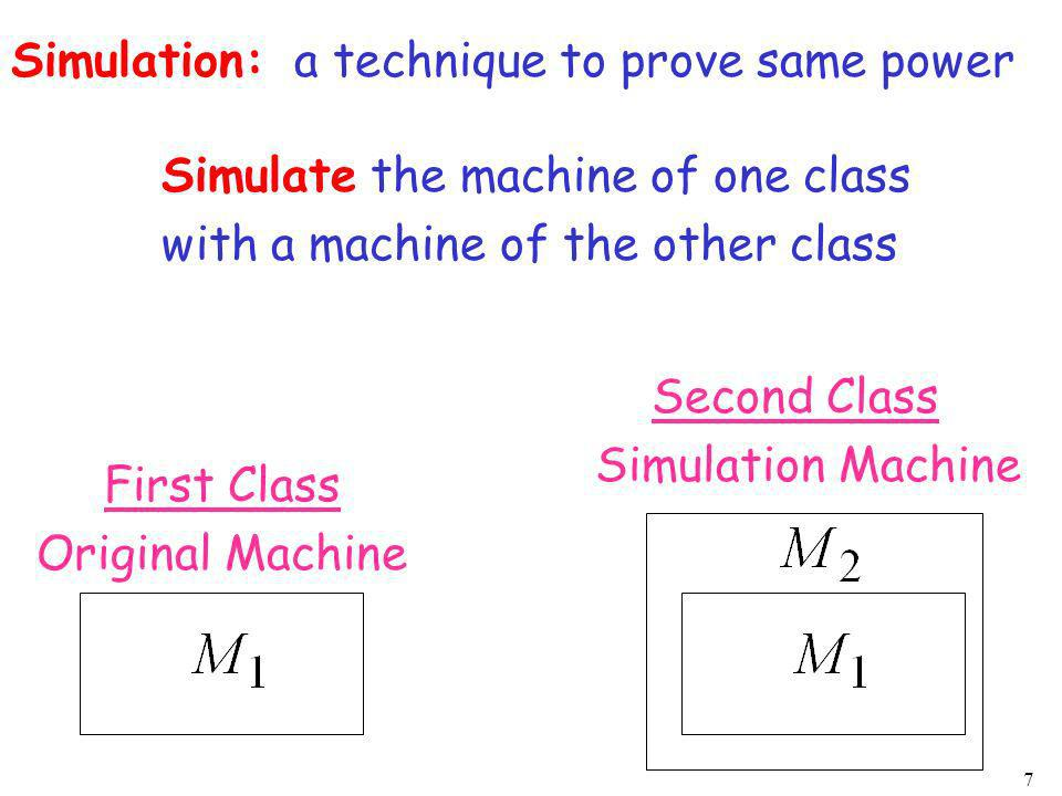Simulation: a technique to prove same power. Simulate the machine of one class. with a machine of the other class.
