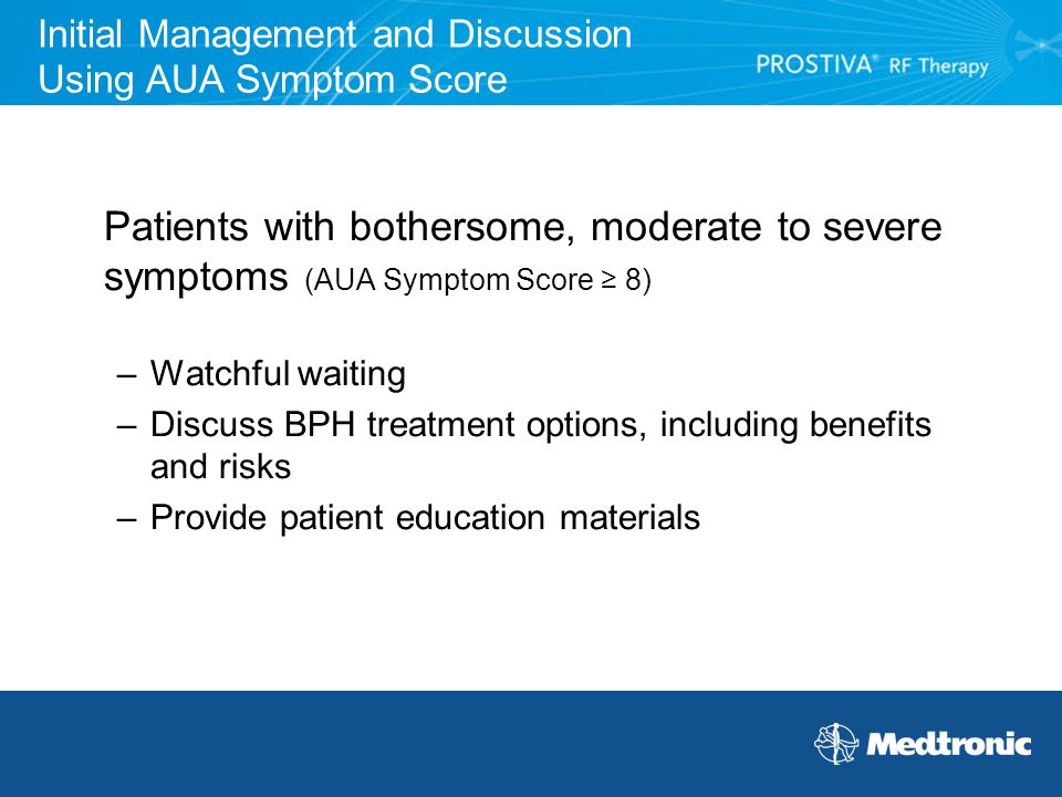 Initial Management and Discussion Using AUA Symptom Score