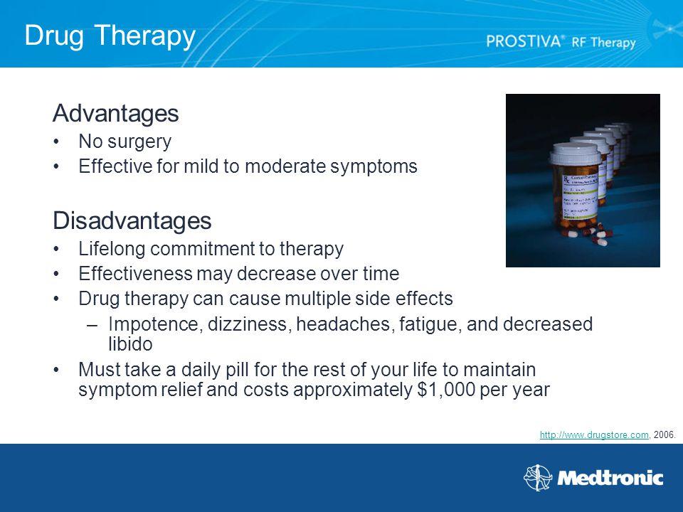 Drug Therapy Advantages Disadvantages No surgery