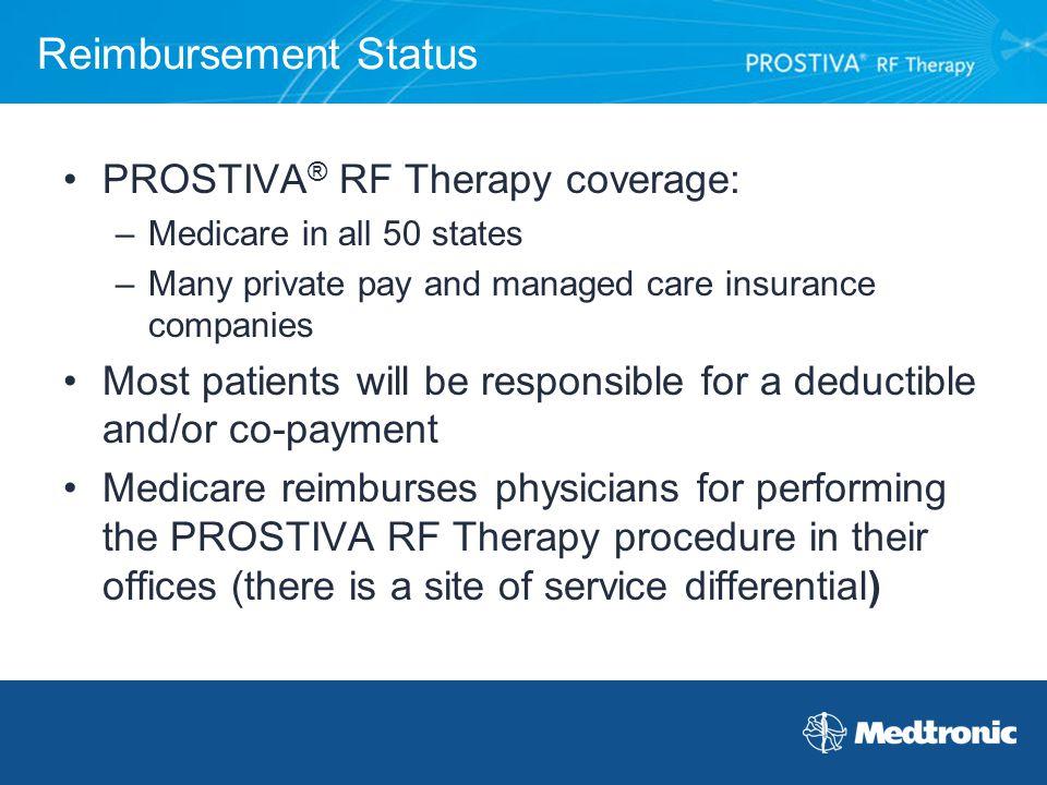Reimbursement Status PROSTIVA® RF Therapy coverage: