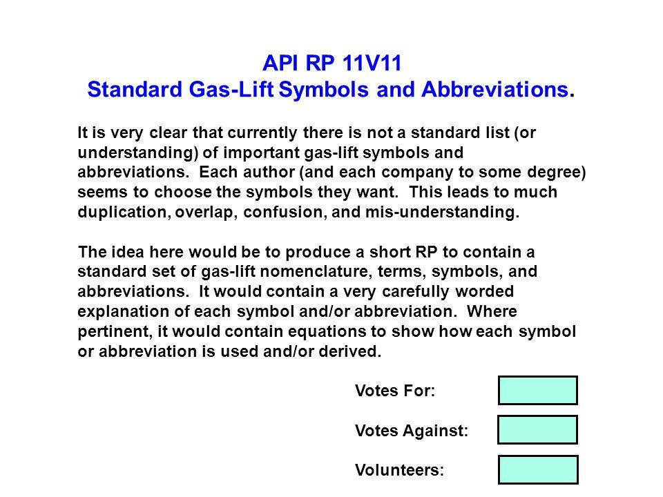 Standard Gas-Lift Symbols and Abbreviations.