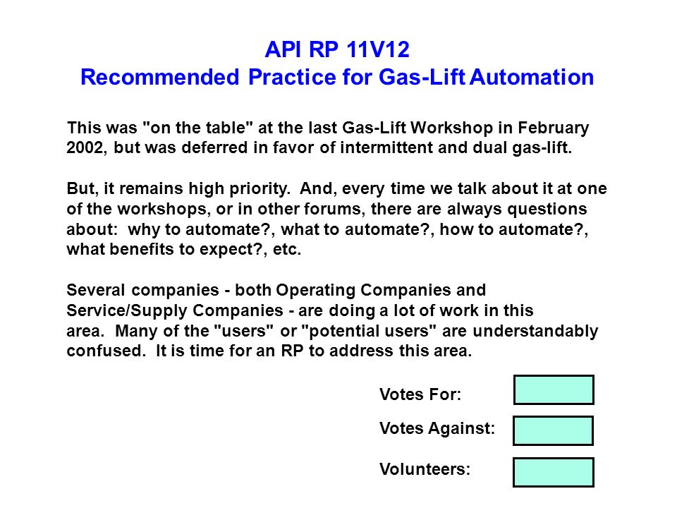 Recommended Practice for Gas-Lift Automation