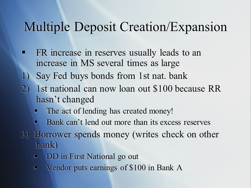 Multiple Deposit Creation/Expansion