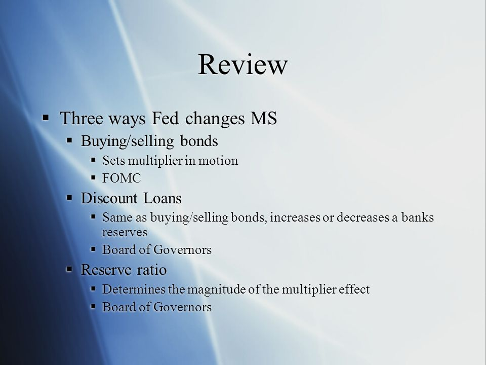 Review Three ways Fed changes MS Buying/selling bonds Discount Loans