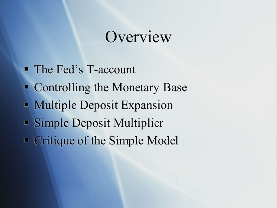 Overview The Fed's T-account Controlling the Monetary Base