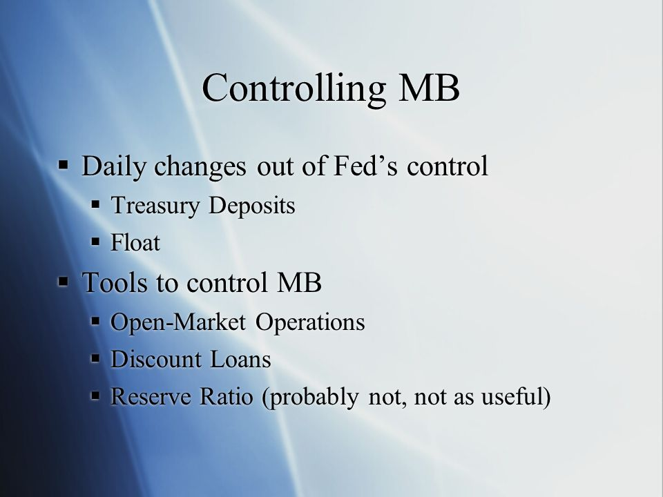 Controlling MB Daily changes out of Fed's control Tools to control MB