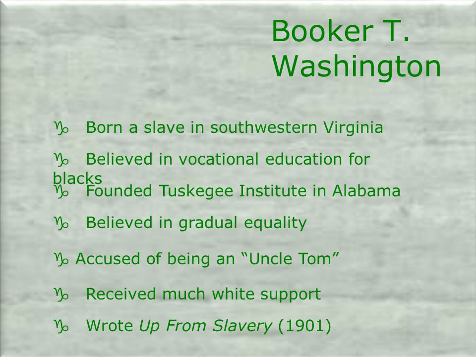 Booker T. Washington g Born a slave in southwestern Virginia