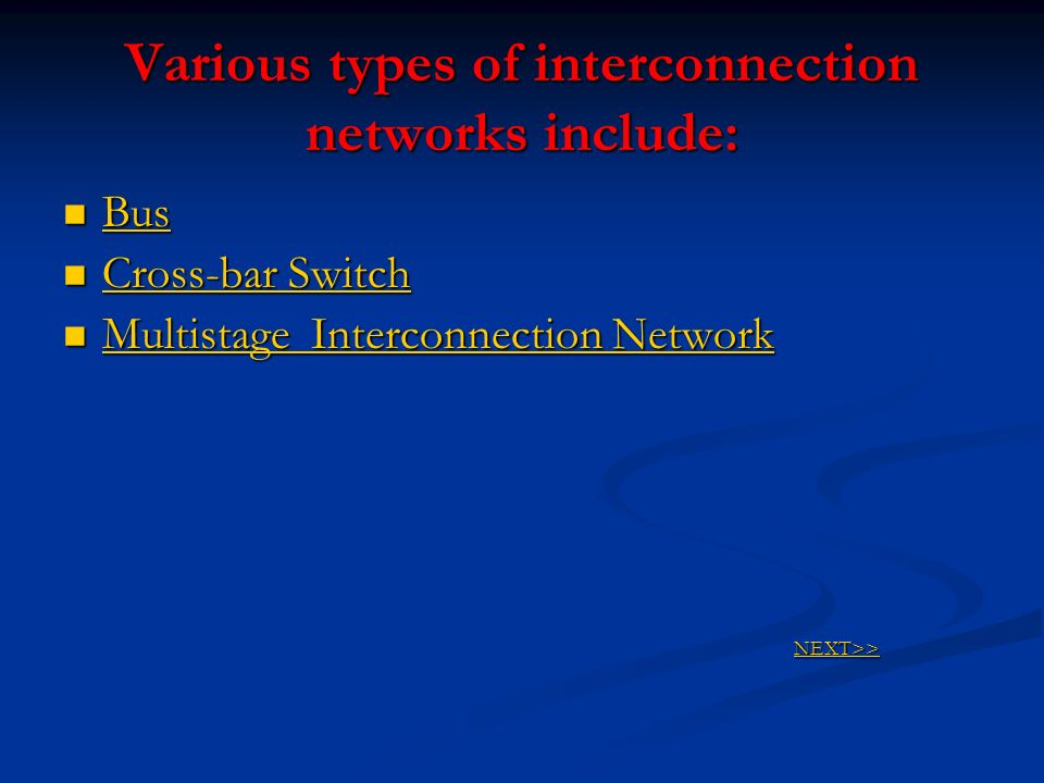 Various types of interconnection networks include: