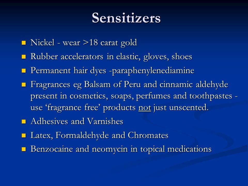 Sensitizers Nickel - wear >18 carat gold