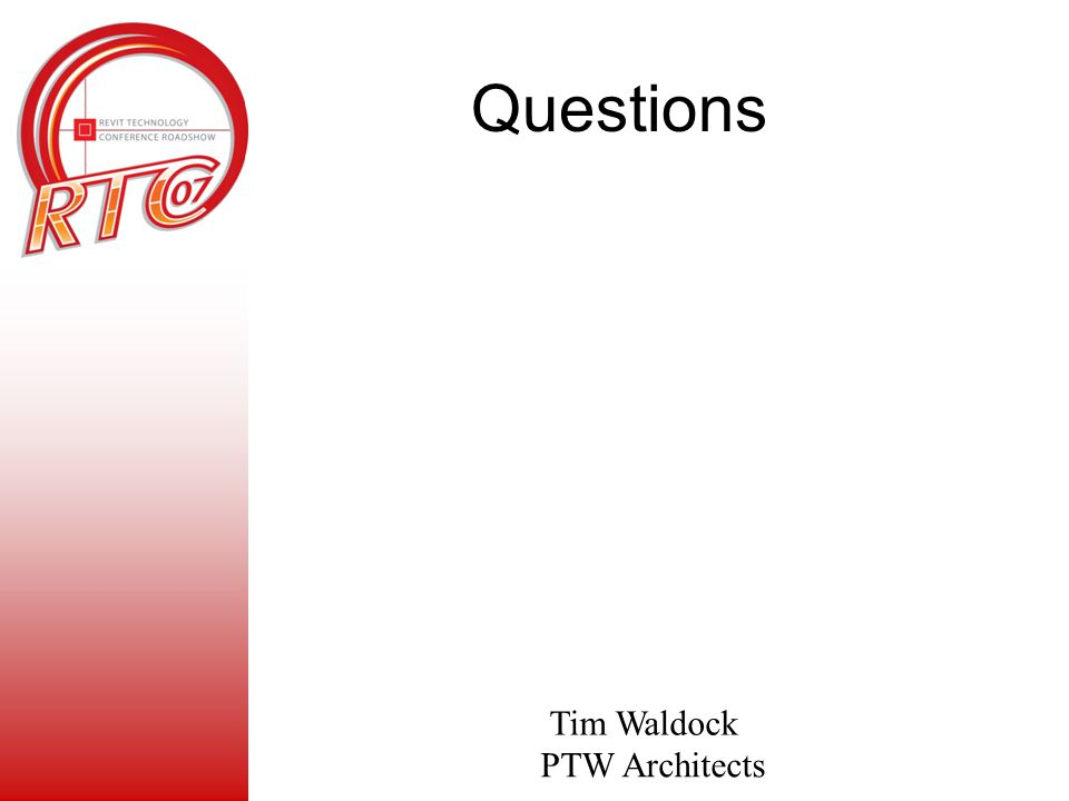 Questions Tim Waldock PTW Architects