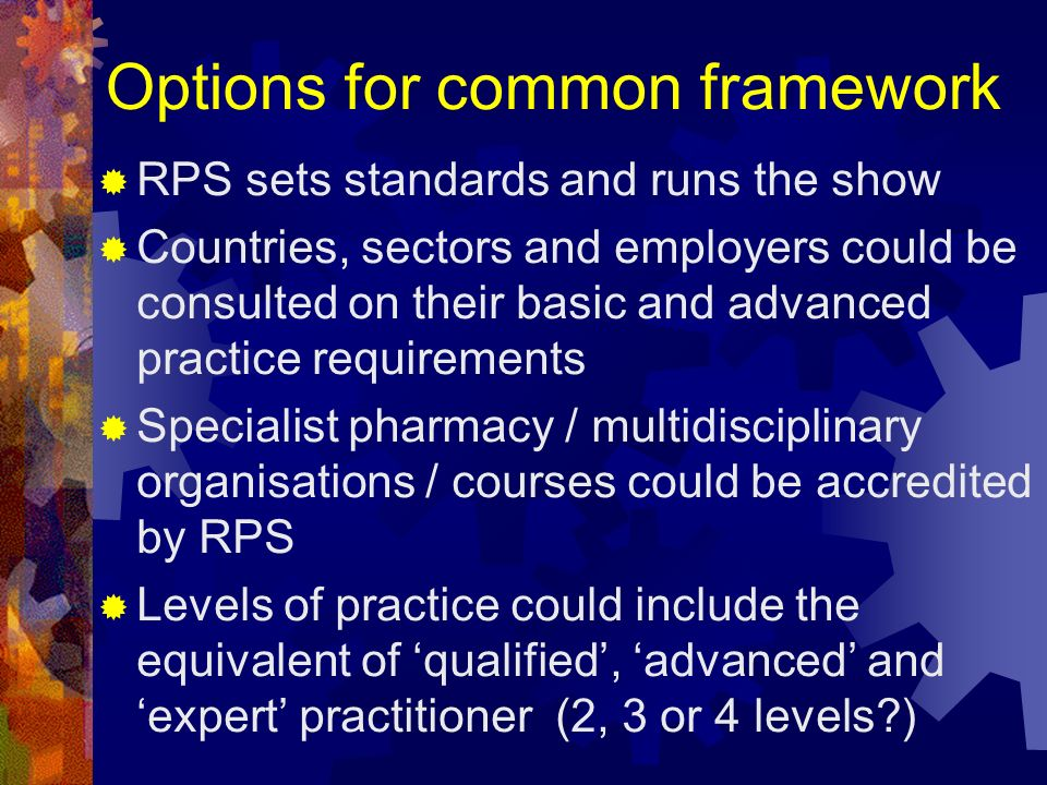 Options for common framework