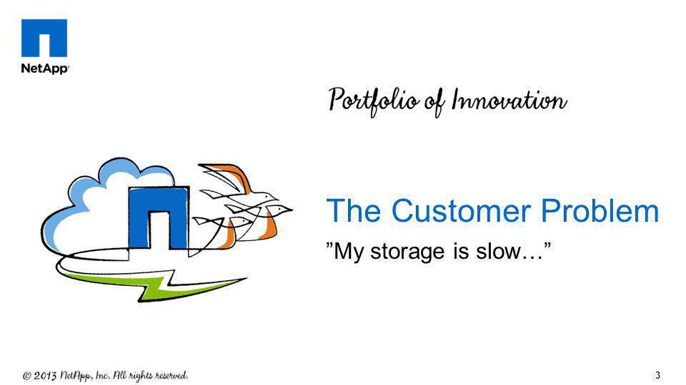 The Customer Problem My storage is slow…
