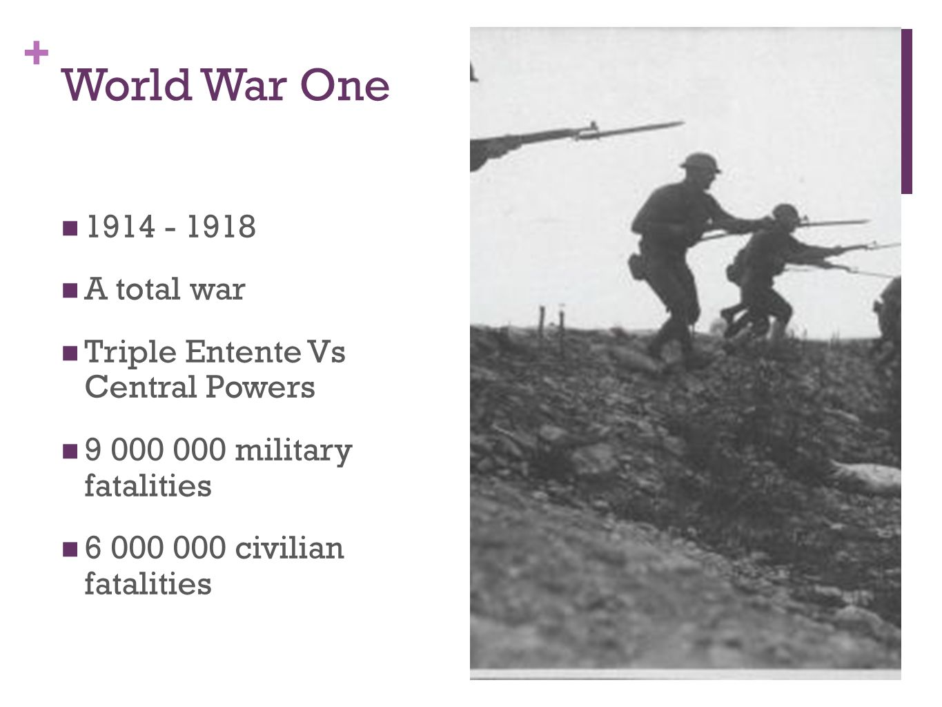 World War One 1914 - 1918 A total war Triple Entente Vs Central Powers