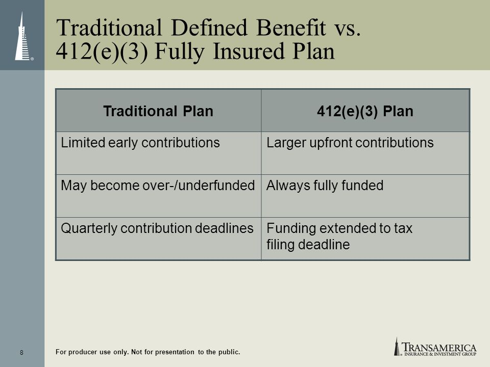 Traditional Defined Benefit vs. 412(e)(3) Fully Insured Plan
