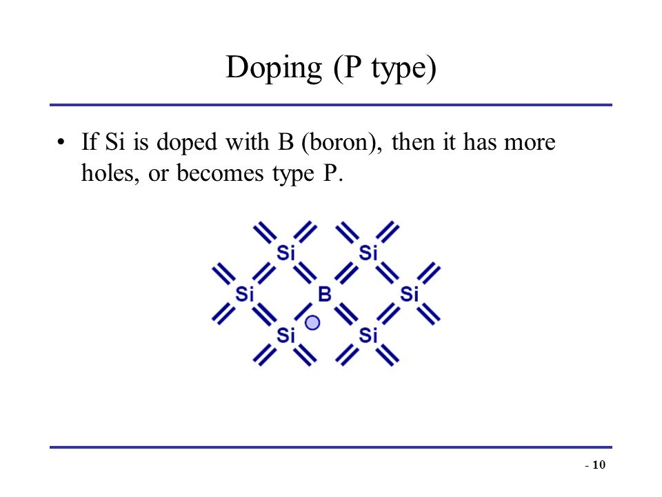 Doping (P type) If Si is doped with B (boron), then it has more holes, or becomes type P.