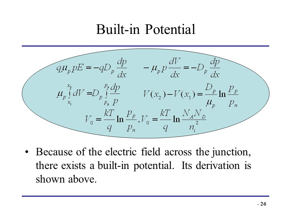 Built-in PotentialBecause of the electric field across the junction, there exists a built-in potential.