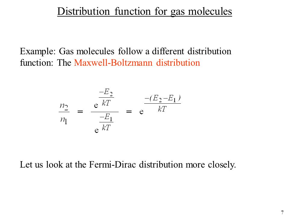 Distribution function for gas molecules