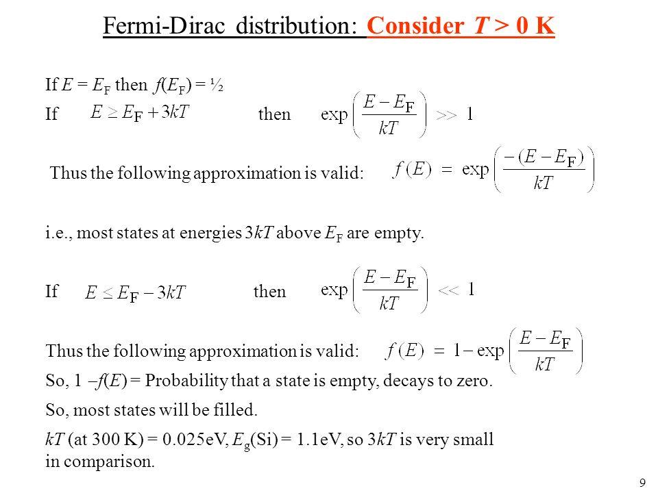 Fermi-Dirac distribution: Consider T > 0 K