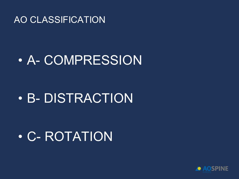 AO CLASSIFICATION A- COMPRESSION B- DISTRACTION C- ROTATION