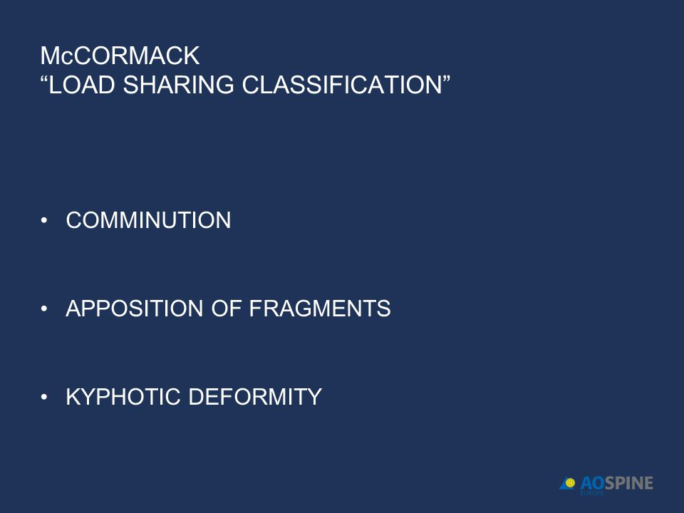 McCORMACK LOAD SHARING CLASSIFICATION