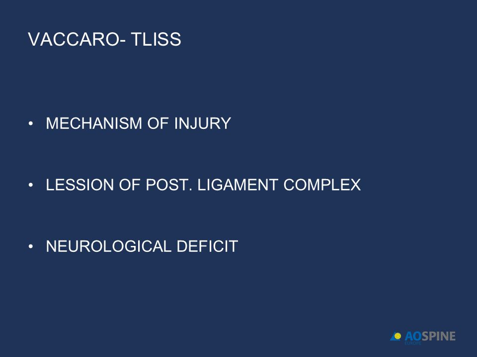 Vaccaro- TLISS MECHANISM OF INJURY LESSION OF POST. LIGAMENT COMPLEX