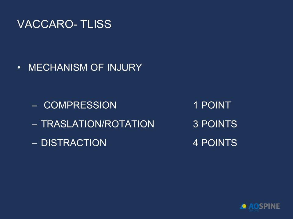 Vaccaro- TLISS MECHANISM OF INJURY COMPRESSION 1 POINT