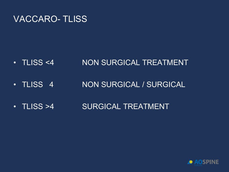 VACCARO- TLISS TLISS <4 NON SURGICAL TREATMENT
