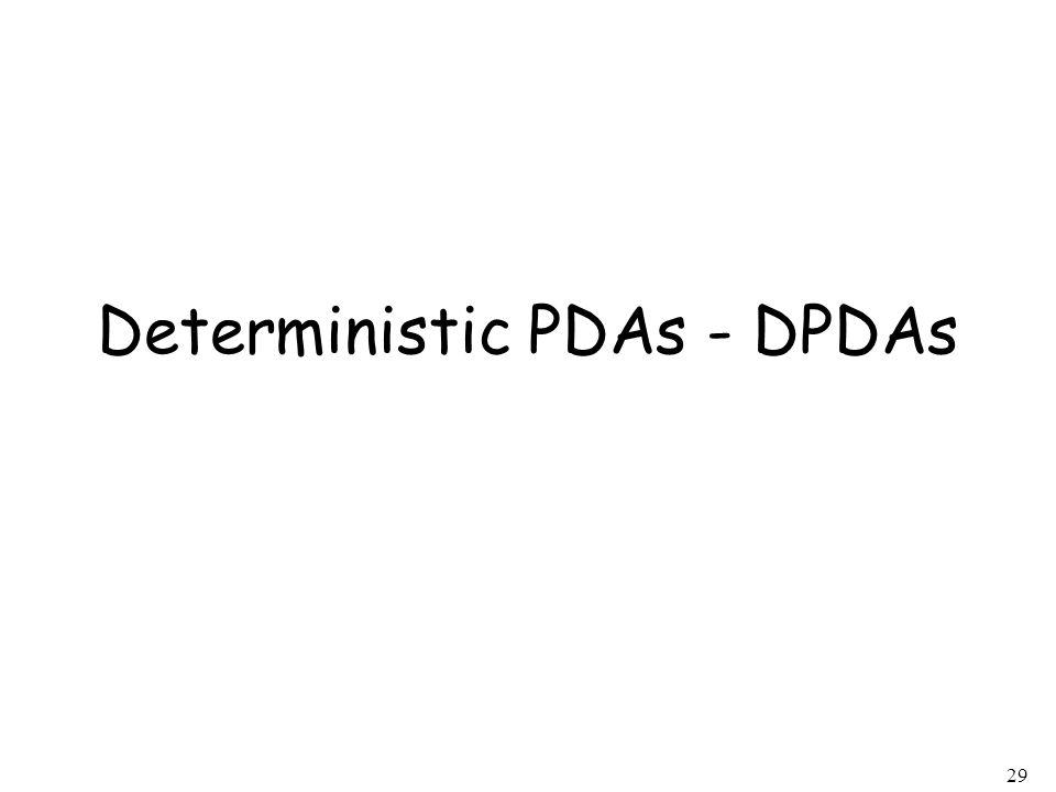 Deterministic PDAs - DPDAs