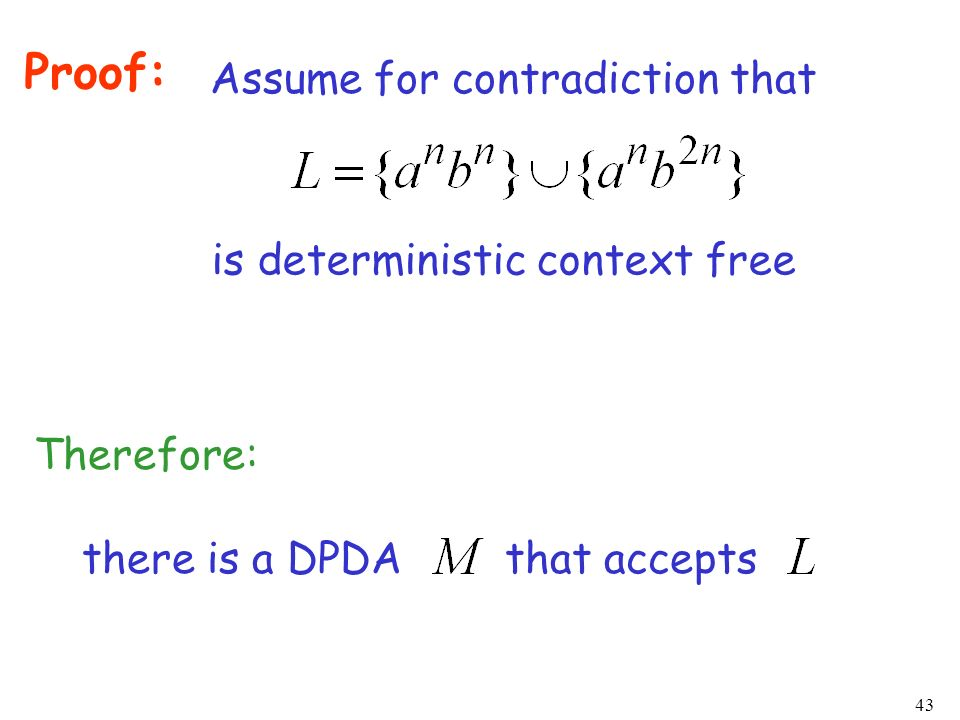 Proof: Assume for contradiction that is deterministic context free
