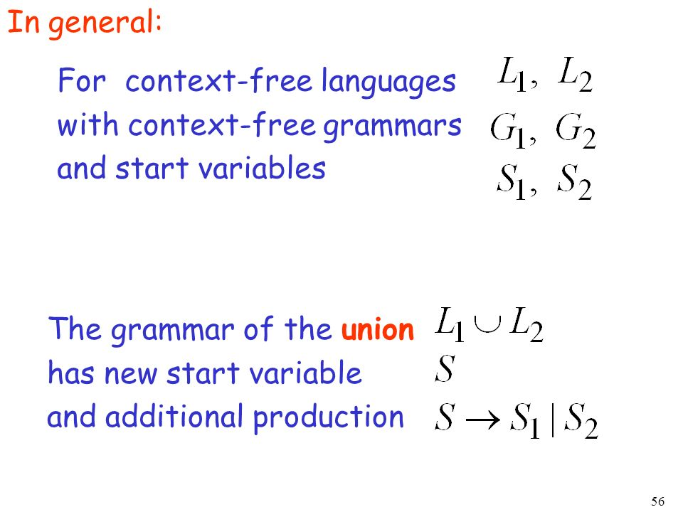 In general:For context-free languages. with context-free grammars. and start variables. The grammar of the union.