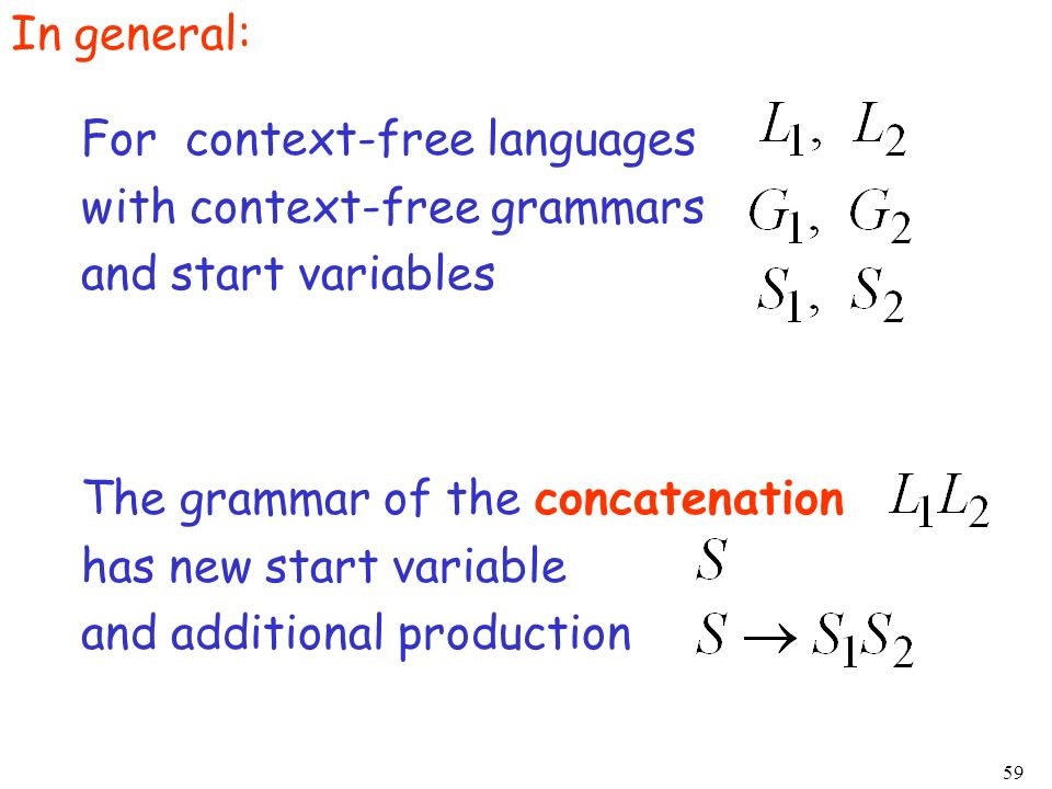 In general:For context-free languages. with context-free grammars. and start variables. The grammar of the concatenation.