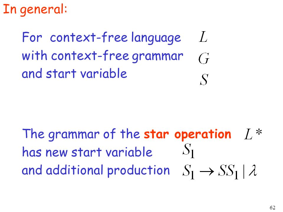 In general:For context-free language. with context-free grammar. and start variable. The grammar of the star operation.