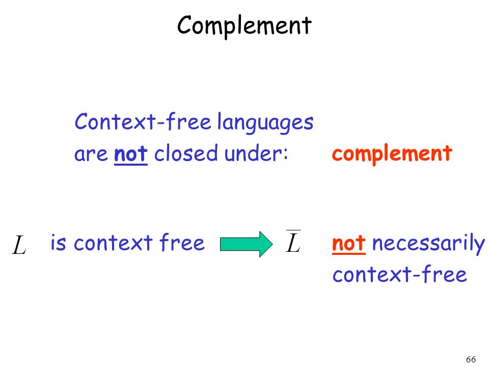 Complement Context-free languages are not closed under: complement