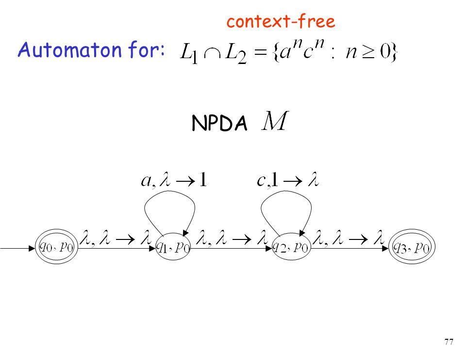 context-free Automaton for: NPDA