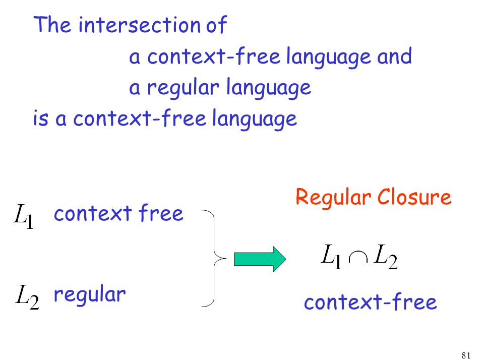 The intersection of a context-free language and. a regular language. is a context-free language. Regular Closure.