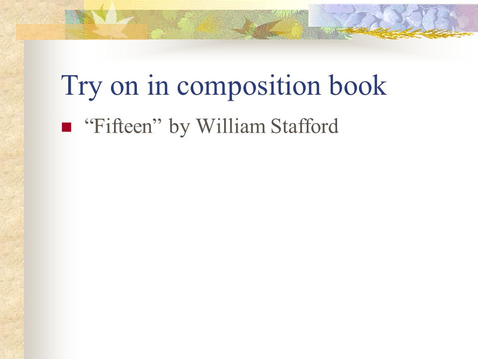 Try on in composition book