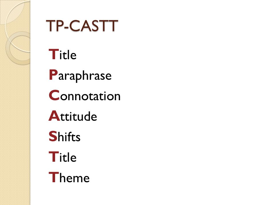 TP-CASTT Title Paraphrase Connotation Attitude Shifts Theme