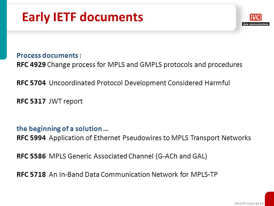 Early IETF documents Process documents :