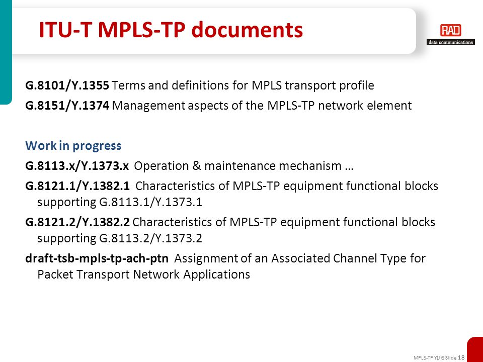 ITU-T MPLS-TP documents